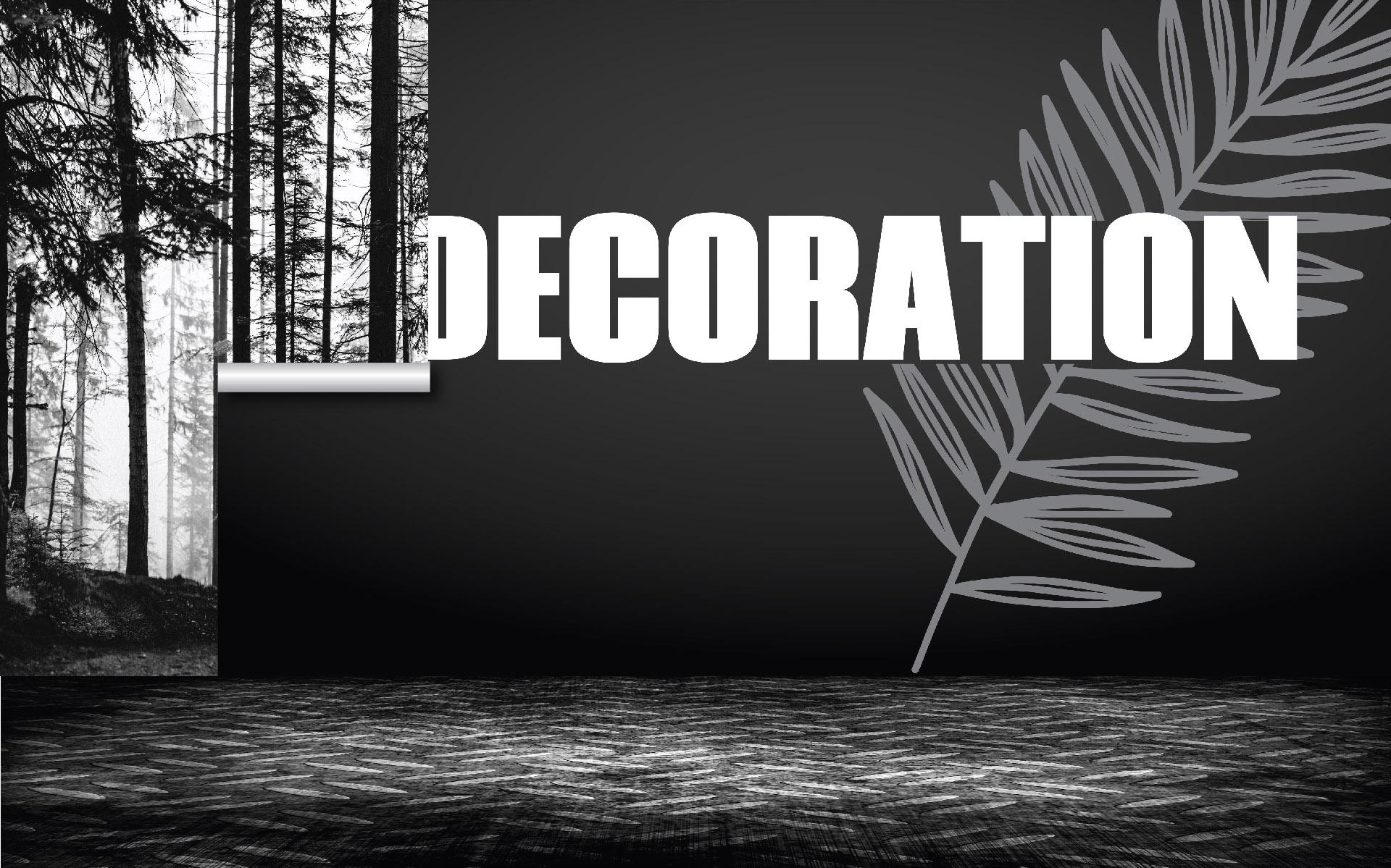 Illustration en noir et blanc : papier peint personnalisé (paysage forêt) partiellement posé, sur le mur où figurait le mot décoration