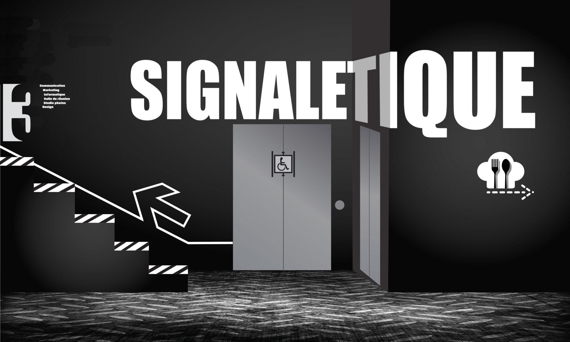 Illustration : le mot signalétique apparaît écrit sur le mur d'un hall en noir et blanc