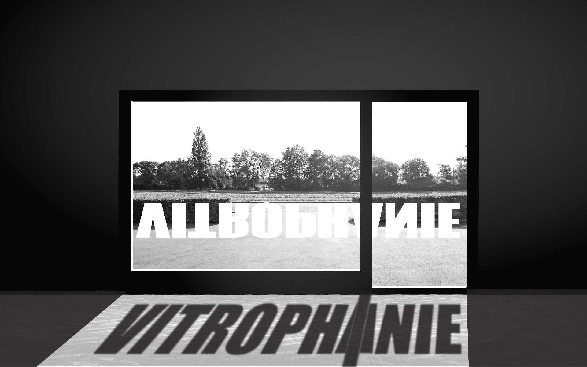 """Photomontage : projection au sol de l'ombre du mot """"Vitrophanie"""" collé sur une vitre ensoleillée"""
